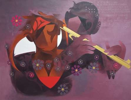 Joy Of Music-9 | Painting by artist Ranjit Singh | acrylic | Canvas