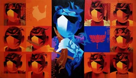 contemporary Acrylic Art Painting title Joy Of Music 22 by artist Ranjit Singh Kurmi
