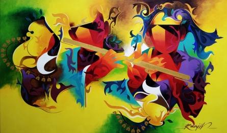 contemporary Acrylic Art Painting title 'Joy Of Music 23' by artist Ranjit Singh Kurmi