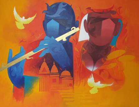 Ranjit Singh | Acrylic Painting title Music Of Banaras 1 on Canvas | Artist Ranjit Singh Gallery | ArtZolo.com