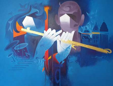 Ranjit Singh Paintings | Acrylic Painting - Music Of Banaras 2 by artist Ranjit Singh | ArtZolo.com