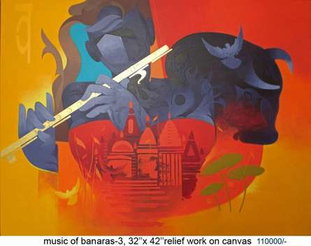 Ranjit Singh | Acrylic Painting title Music Of Banaras 3 on Canvas | Artist Ranjit Singh Gallery | ArtZolo.com