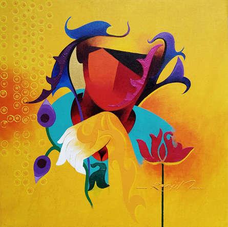 contemporary Acrylic Art Painting title 'Towards Happiness 1' by artist Ranjit Singh Kurmi