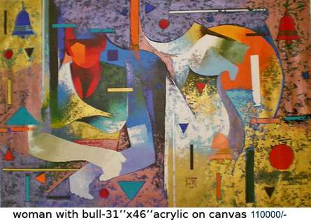Ranjit Singh Paintings | Acrylic Painting - Woman With Bull by artist Ranjit Singh | ArtZolo.com