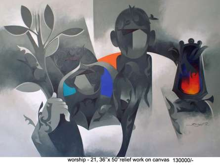 Worship-21 | Painting by artist Ranjit Singh | acrylic | Canvas