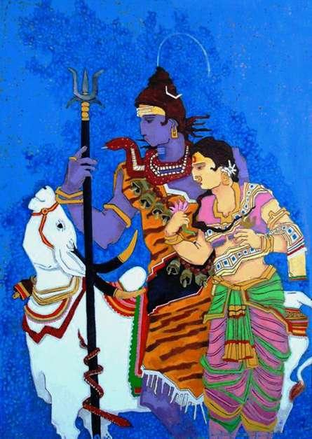 Someshwar | Acrylic Painting title Life Journey 1 on Canvas | Artist Someshwar Gallery | ArtZolo.com
