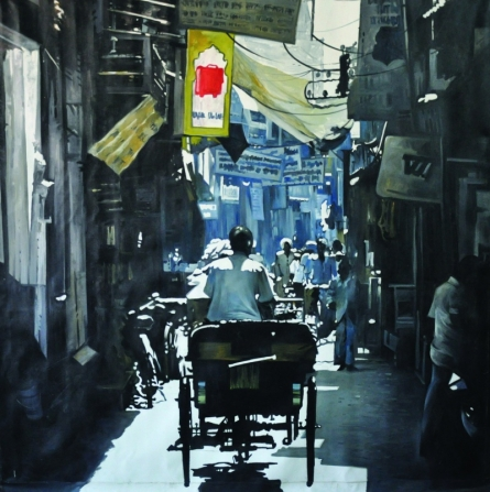Cityscape Oil Art Painting title In The Bazzar by artist Ajit Deswandikar