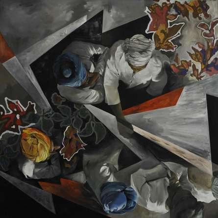 Figurative Oil Art Painting title 'Top View 3' by artist Ajit Deswandikar