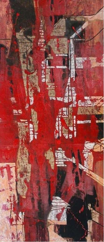 Abstract Mixed-media Art Painting title 'Untitled' by artist Kashinath Jadhav