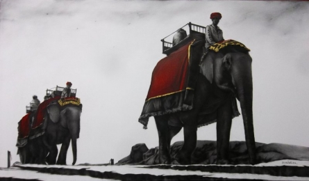 Journey with Elephnat | Painting by artist Yuvraj Patil | charcoal | Canvas