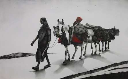 Yuvraj Patil | Charcoal Painting title Journey with Horse on Canvas | Artist Yuvraj Patil Gallery | ArtZolo.com