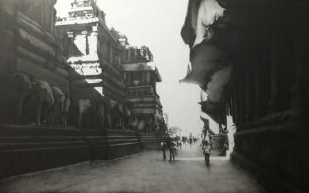 Charcoal Paintings | Drawing title Ajanta Ellora on Canvas | Artist Yuvraj Patil