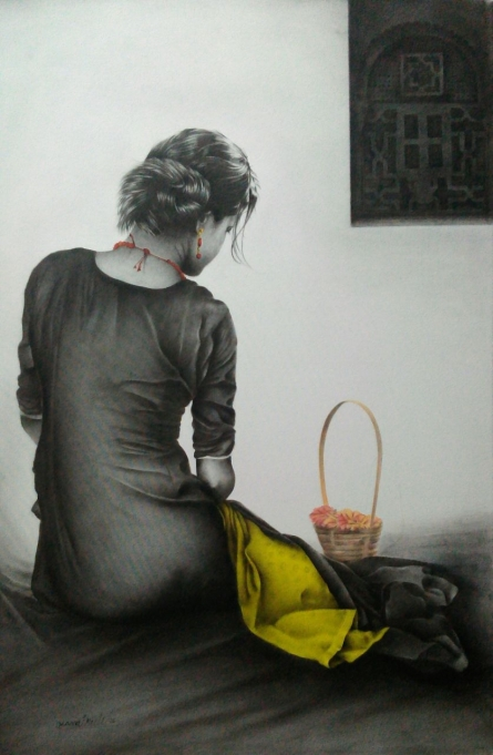 Figurative Charcoal Art Drawing title Flower Girl by artist Yuvraj Patil