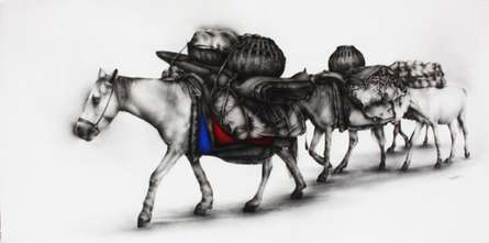 Animals Charcoal Art Drawing title 'Horses' by artist Yuvraj Patil