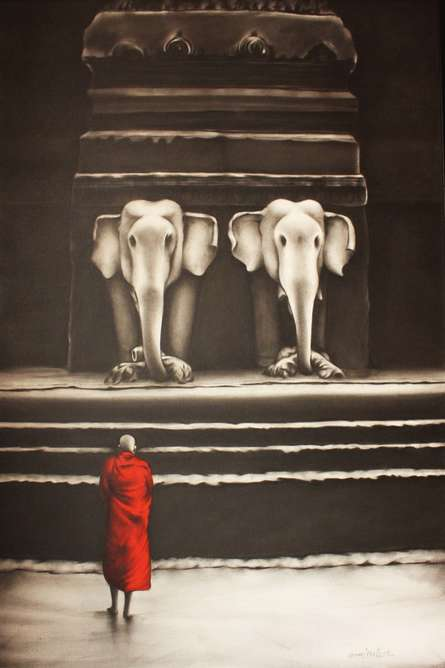 Religious Charcoal Art Painting title Monk 1 by artist Yuvraj Patil