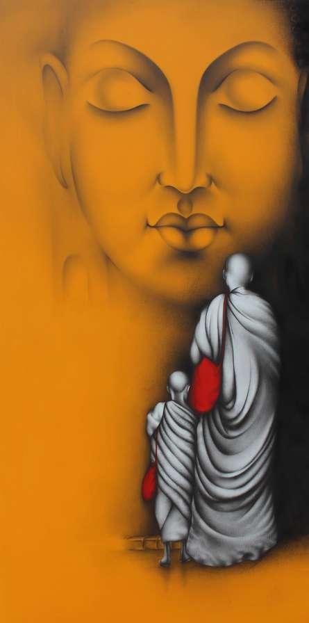 Religious Charcoal Art Painting title Monk 4 by artist Yuvraj Patil