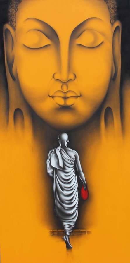 Religious Charcoal Art Painting title Monk 5 by artist Yuvraj Patil