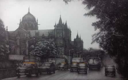 Charcoal Paintings | Drawing title Mumbai on Canvas | Artist Yuvraj Patil