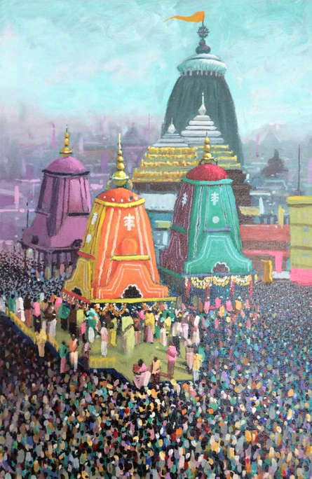 Religious Acrylic Art Painting title Golden Area by artist Amol Satre