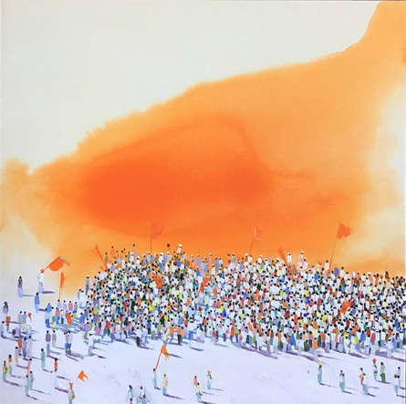 Religious Acrylic Art Painting title Rally by artist Amol Satre