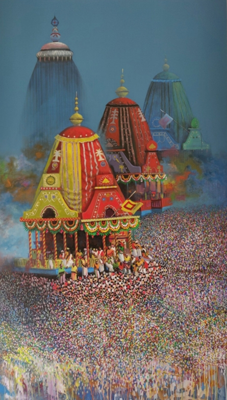 Religious Acrylic Art Painting title 'Rathayatra' by artist Amol Satre