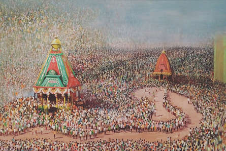 Religious Acrylic Art Painting title Rathyatra by artist Amol Satre