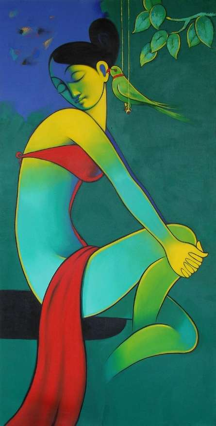 Secret Gossip | Painting by artist Navnath Chobhe | acrylic | Canvas