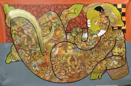 Ganesha Giving Blessing | Painting by artist Ramesh Gorjala | acrylic | Canvas