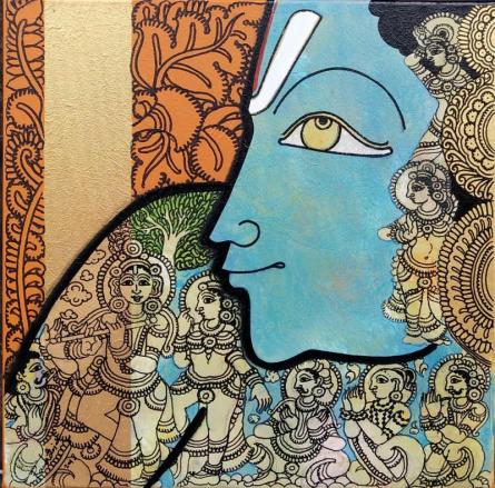 Religious Acrylic Art Painting title krishna by artist Ramesh Gorjala