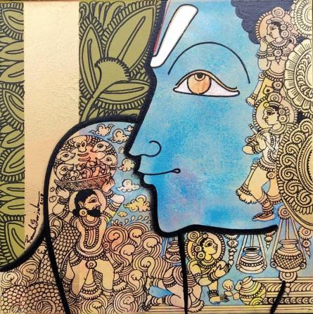 Birth of Krishna | Painting by artist Ramesh Gorjala | acrylic | Canvas
