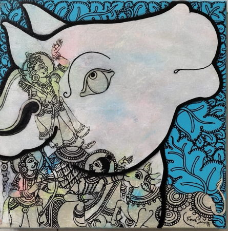 Religious Acrylic Art Painting title Kamadhenu 1 by artist Ramesh Gorjala