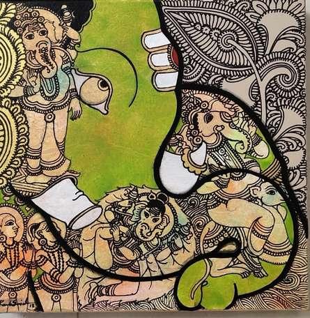 Religious Acrylic Art Painting title 'Ganesha 1' by artist Ramesh Gorjala