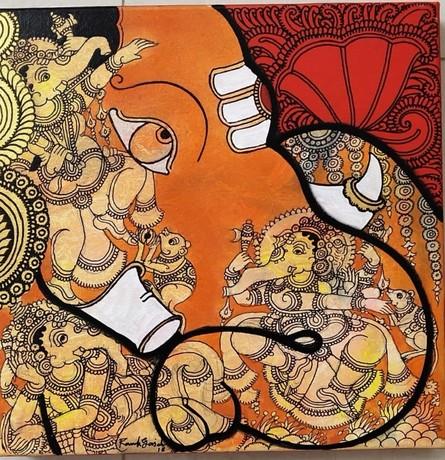 Religious Acrylic Art Painting title 'Ganesha 2' by artist Ramesh Gorjala