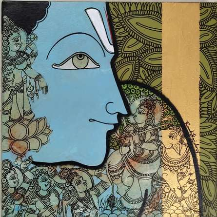 Religious Acrylic Art Painting title Gopashtami by artist Ramesh Gorjala