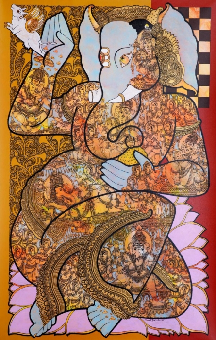 Religious Acrylic Art Painting title 'Lord Ganesha' by artist Ramesh Gorjala