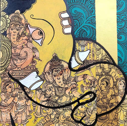 Ramesh Gorjala | Acrylic Painting title Ganesha 2 on Canvas