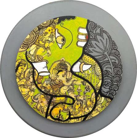 Religious Acrylic Art Painting title 'Ganesha 5' by artist Ramesh Gorjala