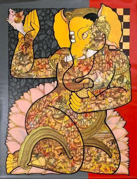 Religious Acrylic Art Painting title 'Ganesha ( Vighnaharta )' by artist Ramesh Gorjala