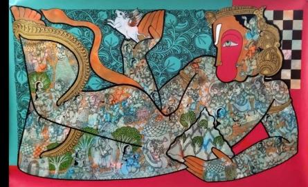 Religious Acrylic Art Painting title Hanuman 2 by artist Ramesh Gorjala