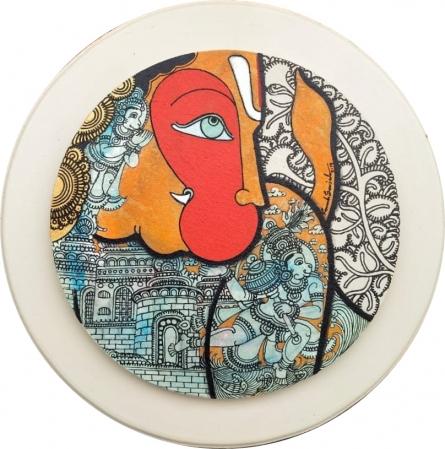 Religious Acrylic Art Painting title 'Hanuman 4' by artist Ramesh Gorjala