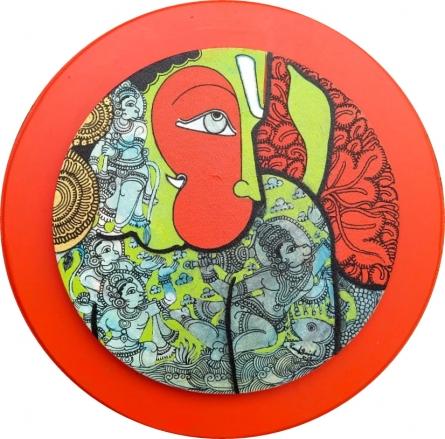 Religious Acrylic Art Painting title 'Hanuman 5' by artist Ramesh Gorjala