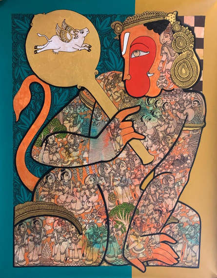Religious Acrylic Art Painting title 'Hanuman 6' by artist Ramesh Gorjala