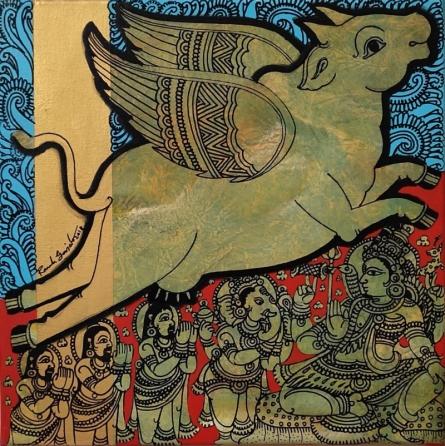 Religious Acrylic Art Painting title 'Kamadhenu 4' by artist Ramesh Gorjala