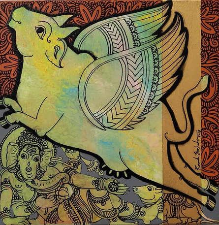 Religious Acrylic Art Painting title 'Kamadhenu 6' by artist Ramesh Gorjala