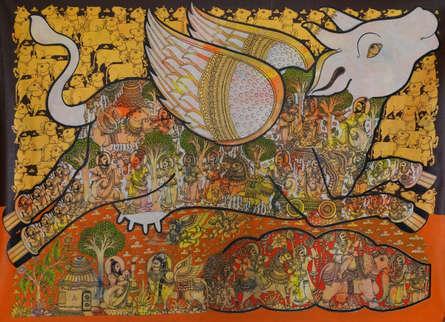 Religious Acrylic Art Painting title 'Kamadhenu (Sacred Cow)' by artist Ramesh Gorjala