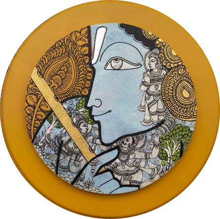 Religious Acrylic Art Painting title Lord Krishna by artist Ramesh Gorjala