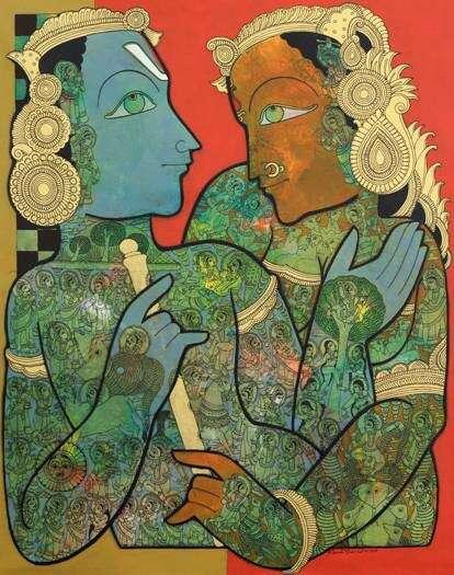Religious Mixed-media Art Painting title 'Krishna Radha' by artist Ramesh Gorjala