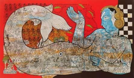 Religious Mixed-media Art Painting title Lord Krishna by artist Ramesh Gorjala