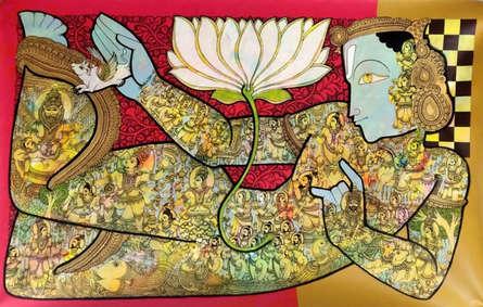 Religious Acrylic Art Painting title 'Lord Vishnu 2' by artist Ramesh Gorjala