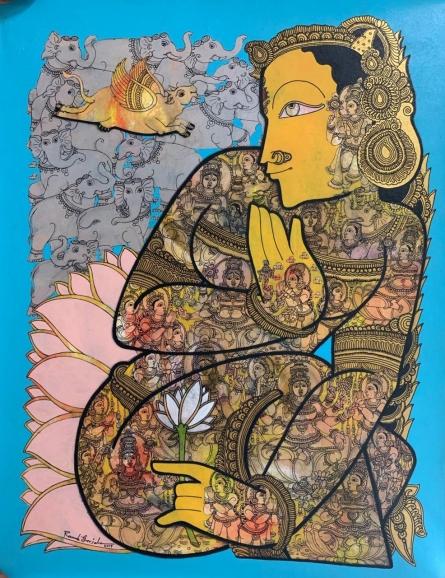 Religious Acrylic Art Painting title 'Lord Vishnu 3' by artist Ramesh Gorjala
